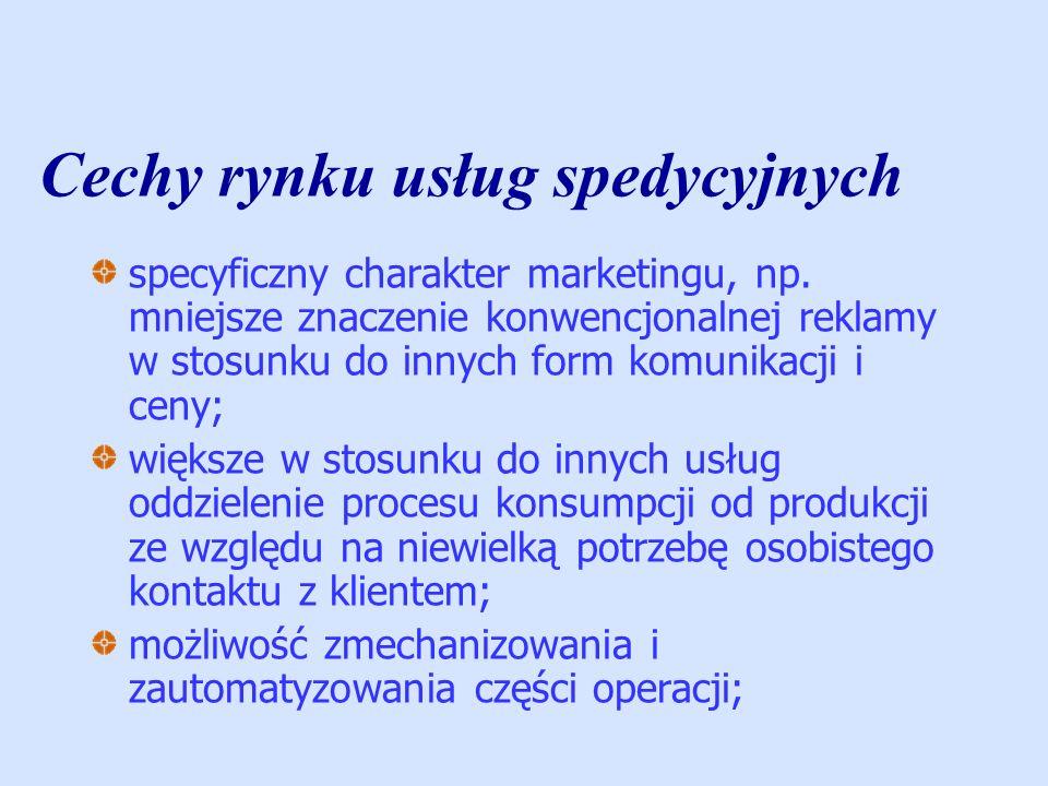 Cechy rynku usług spedycyjnych stosunkowo mniejsze znaczenie lokalizacji, dostępności, stanu zakładu produkcyjnego i jego wyposażenia; kanały dystrybucji są krótkie, a sprzedawcy usług są jednocześnie ich wytwórcami; konieczne jest stałe podnoszenie kwalifikacji i pogłębianie doświadczenia; spedytor ma większy kontakt z ładunkiem niż z klientem; koszty niewykorzystanego potencjału w okresach wzmożonego popytu mogą wystąpić trudności związane z ich zaspokojeniem