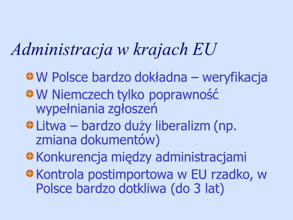 Administracja w krajach EU W Polsce bardzo dokładna – weryfikacja W Niemczech tylko poprawność wypełniania zgłoszeń Litwa – bardzo duży liberalizm (np