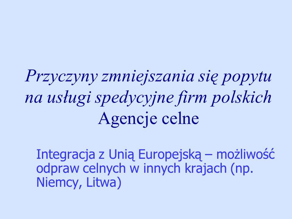 Przyczyny zmniejszania się popytu na usługi spedycyjne firm polskich Agencje celne Integracja z Unią Europejską – możliwość odpraw celnych w innych kr