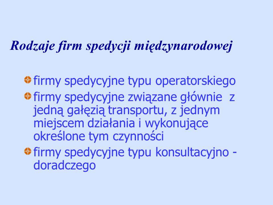 Rodzaje firm spedycji międzynarodowej firmy spedycyjne typu operatorskiego firmy spedycyjne związane głównie z jedną gałęzią transportu, z jednym miej