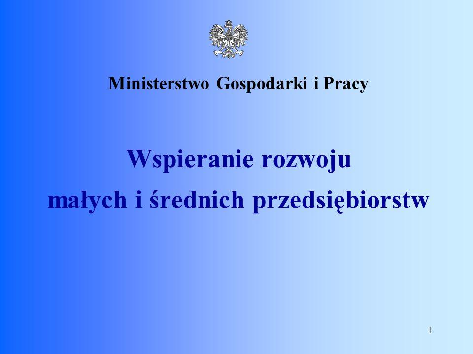 1 Ministerstwo Gospodarki i Pracy Wspieranie rozwoju małych i średnich przedsiębiorstw