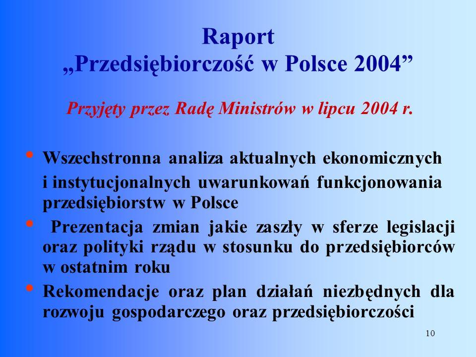10 Przyjęty przez Radę Ministrów w lipcu 2004 r. Wszechstronna analiza aktualnych ekonomicznych i instytucjonalnych uwarunkowań funkcjonowania przedsi