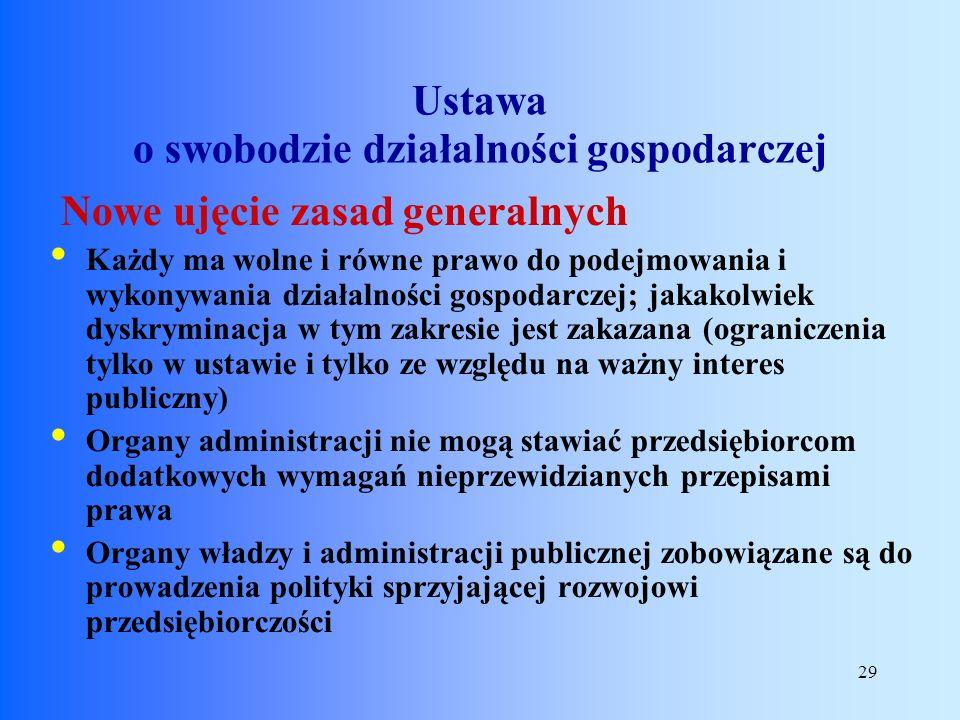 29 Nowe ujęcie zasad generalnych Każdy ma wolne i równe prawo do podejmowania i wykonywania działalności gospodarczej; jakakolwiek dyskryminacja w tym