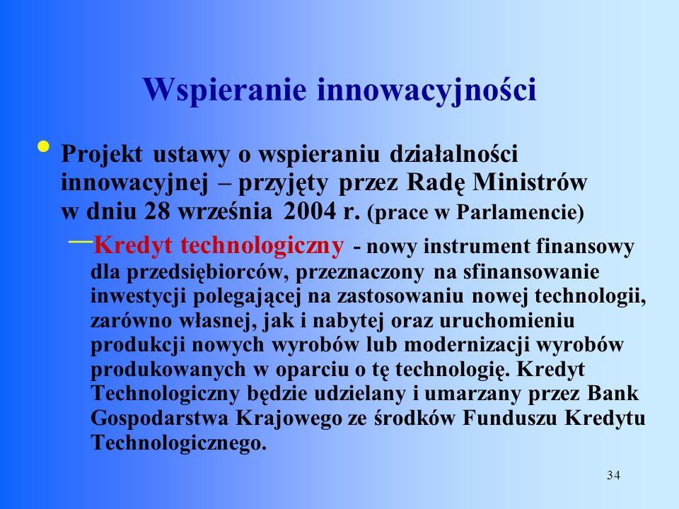 34 Projekt ustawy o wspieraniu działalności innowacyjnej – przyjęty przez Radę Ministrów w dniu 28 września 2004 r. (prace w Parlamencie) – Kredyt tec