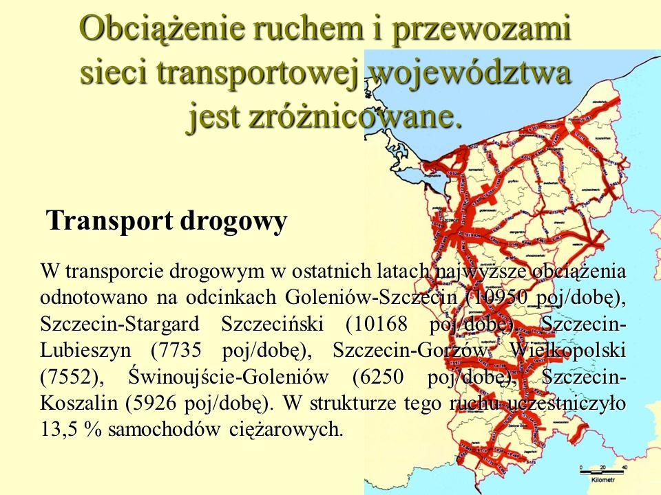 10 Obciążenie ruchem i przewozami sieci transportowej województwa jest zróżnicowane. W transporcie drogowym w ostatnich latach najwyższe obciążenia od