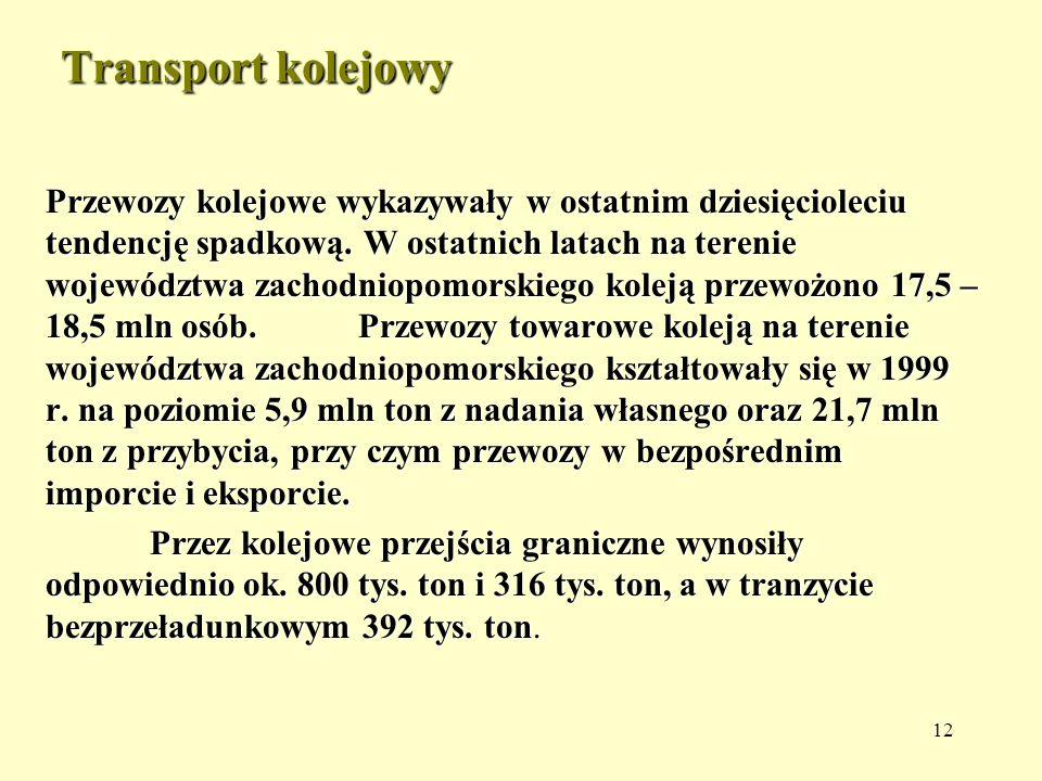 12 Transport kolejowy Przewozy kolejowe wykazywały w ostatnim dziesięcioleciu tendencję spadkową. W ostatnich latach na terenie województwa zachodniop