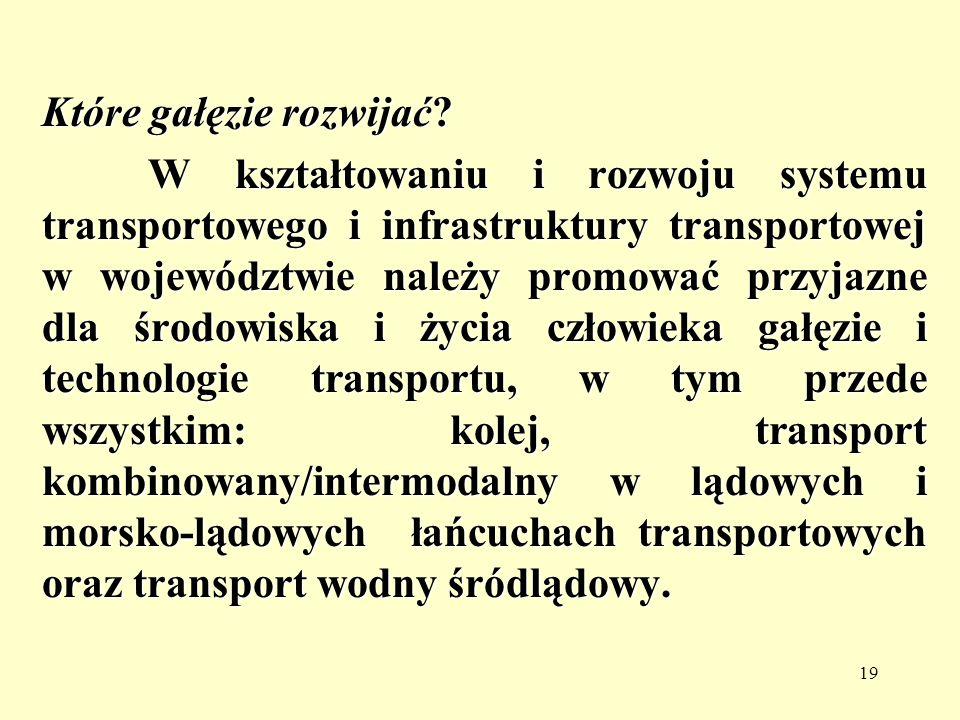 19 Które gałęzie rozwijać? W kształtowaniu i rozwoju systemu transportowego i infrastruktury transportowej w województwie należy promować przyjazne dl