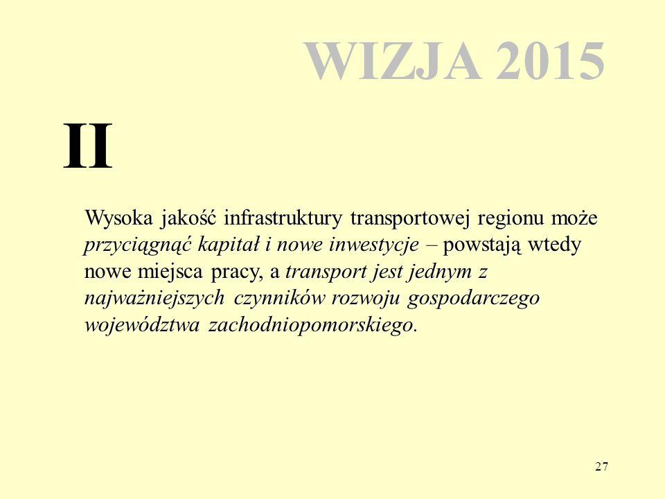27 WIZJA 2015 Wysoka jakość infrastruktury transportowej regionu może przyciągnąć kapitał i nowe inwestycje – powstają wtedy nowe miejsca pracy, a transport jest jednym z najważniejszych czynników rozwoju gospodarczego województwa zachodniopomorskiego.
