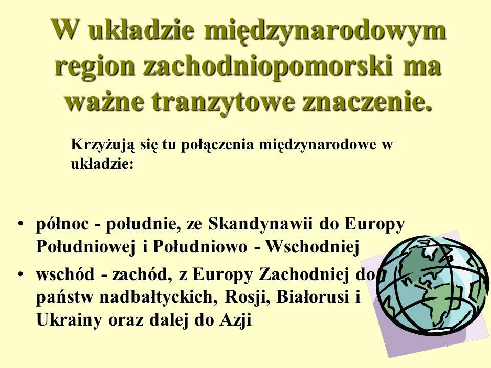 3 W układzie międzynarodowym region zachodniopomorski ma ważne tranzytowe znaczenie. północpółnoc - południe, ze Skandynawii do Europy Południowej i P