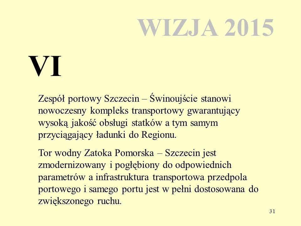 31 WIZJA 2015 Zespół portowy Szczecin – Świnoujście stanowi nowoczesny kompleks transportowy gwarantujący wysoką jakość obsługi statków a tym samym przyciągający ładunki do Regionu.