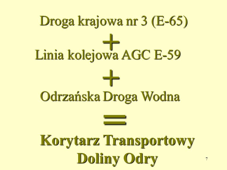 7 Droga krajowa nr 3 (E-65) + Linia kolejowa AGC E-59 + Odrzańska Droga Wodna = Korytarz Transportowy Doliny Odry