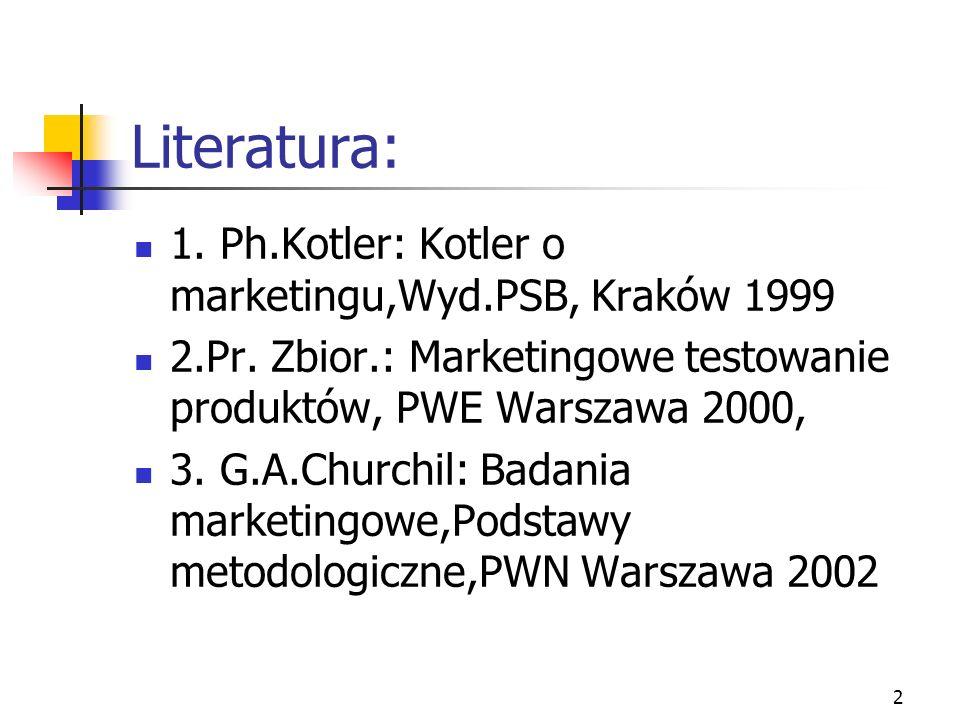 2 Literatura: 1. Ph.Kotler: Kotler o marketingu,Wyd.PSB, Kraków 1999 2.Pr. Zbior.: Marketingowe testowanie produktów, PWE Warszawa 2000, 3. G.A.Church