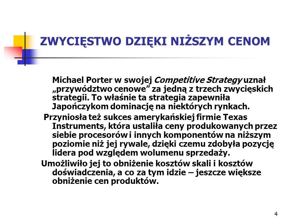 4 ZWYCIĘSTWO DZIĘKI NIŻSZYM CENOM Michael Porter w swojej Competitive Strategy uznał przywództwo cenowe za jedną z trzech zwycięskich strategii. To wł