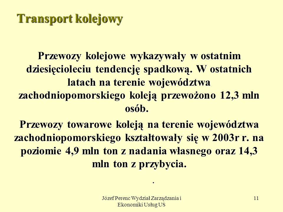 Józef Perenc Wydział Zarządzania i Ekonomiki Usług US 11 Transport kolejowy Przewozy kolejowe wykazywały w ostatnim dziesięcioleciu tendencję spadkową