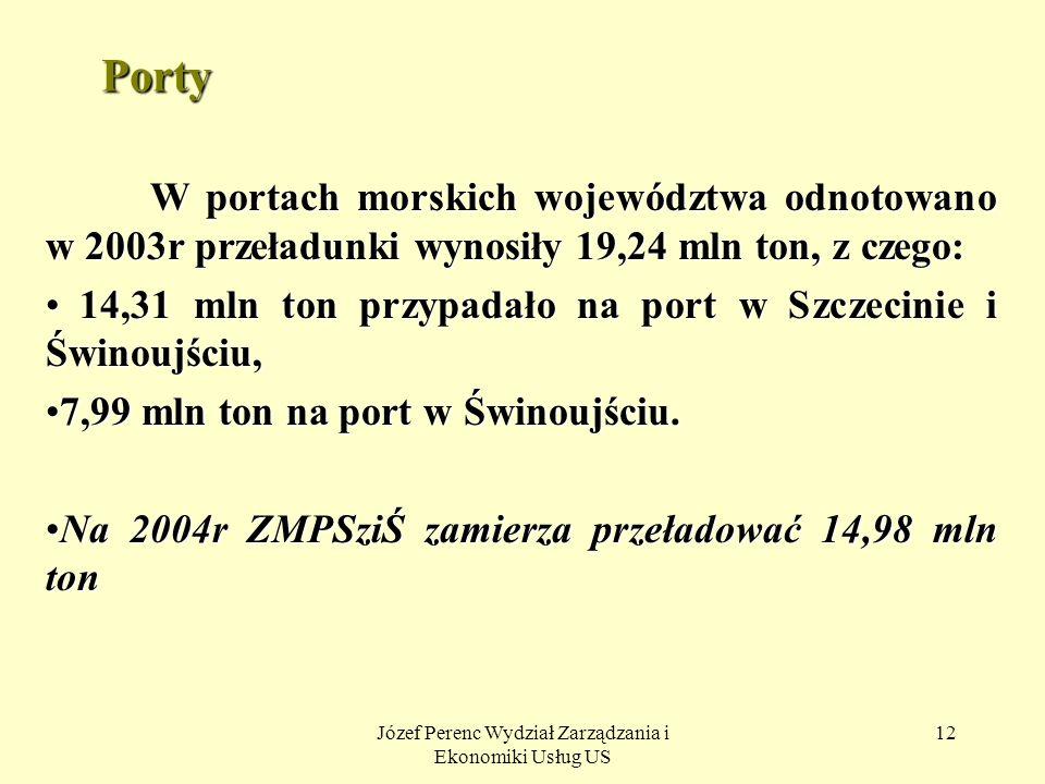 Józef Perenc Wydział Zarządzania i Ekonomiki Usług US 12 Porty W portach morskich województwa odnotowano w 2003r przeładunki wynosiły 19,24 mln ton, z