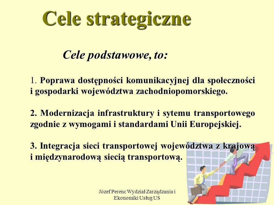 Józef Perenc Wydział Zarządzania i Ekonomiki Usług US 20 Cele strategiczne Cele podstawowe, to: 1. Poprawa dostępności komunikacyjnej dla społeczności