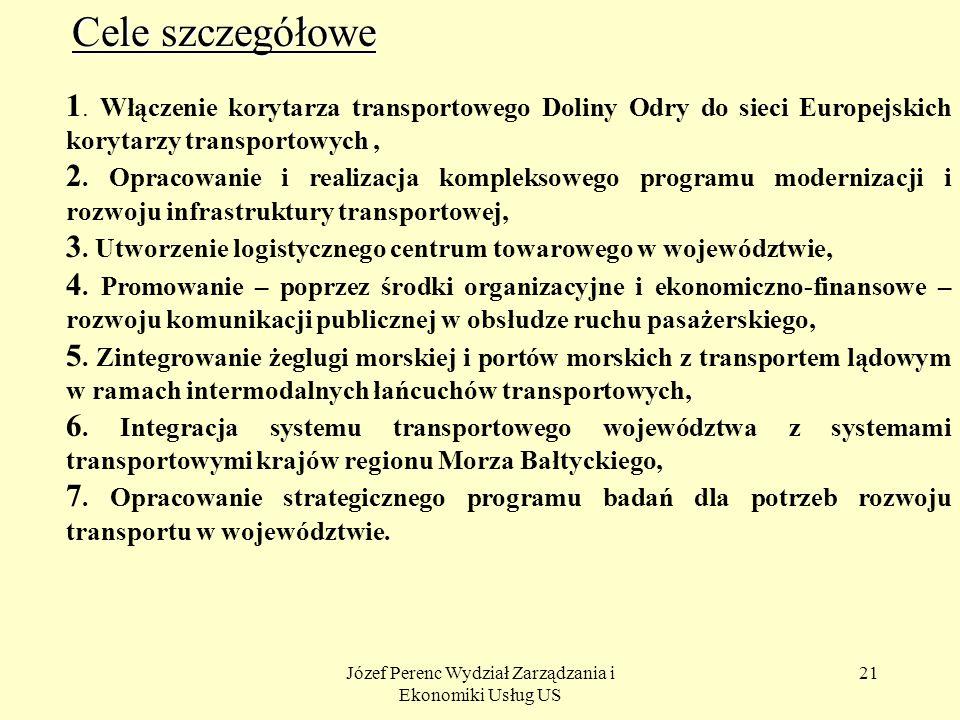 Józef Perenc Wydział Zarządzania i Ekonomiki Usług US 21 Cele szczegółowe 1. Włączenie korytarza transportowego Doliny Odry do sieci Europejskich kory