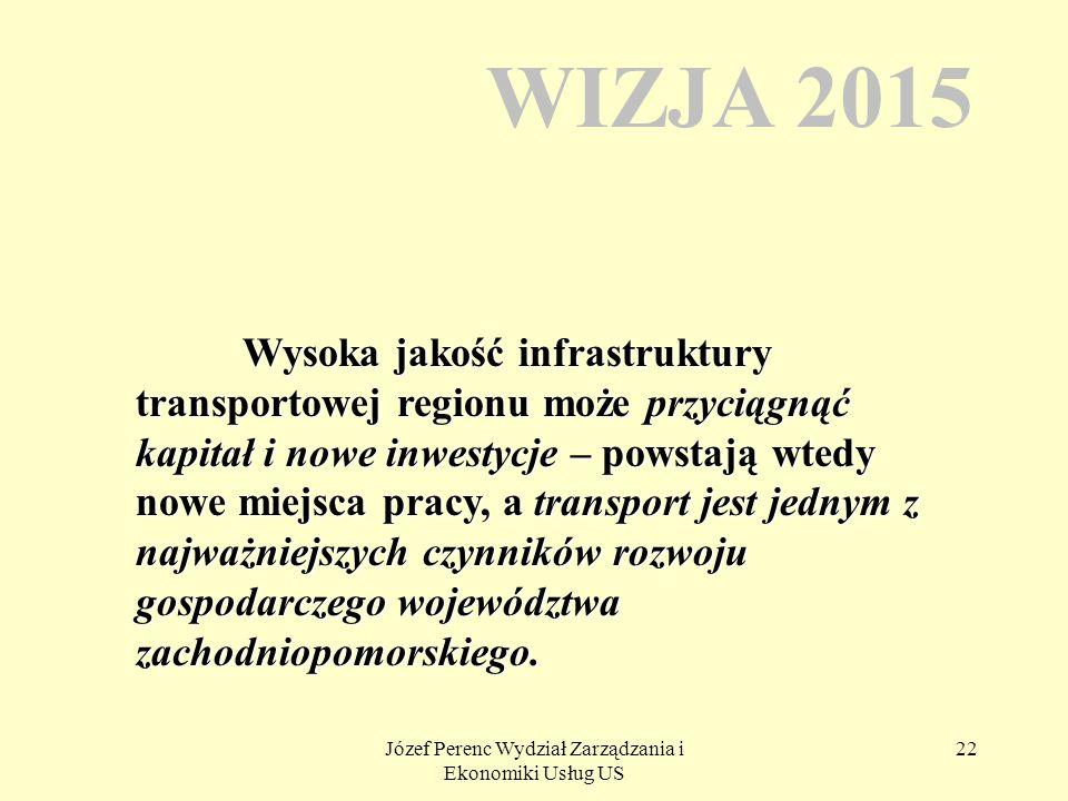 Józef Perenc Wydział Zarządzania i Ekonomiki Usług US 22 WIZJA 2015 Wysoka jakość infrastruktury transportowej regionu może przyciągnąć kapitał i nowe