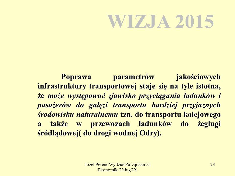 Józef Perenc Wydział Zarządzania i Ekonomiki Usług US 23 WIZJA 2015 Poprawa parametrów jakościowych infrastruktury transportowej staje się na tyle ist