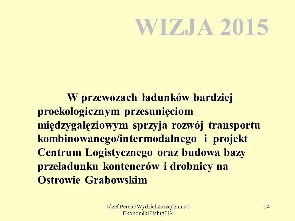 Józef Perenc Wydział Zarządzania i Ekonomiki Usług US 24 WIZJA 2015 W przewozach ładunków bardziej proekologicznym przesunięciom międzygałęziowym sprz