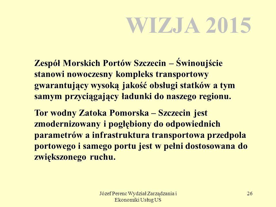 Józef Perenc Wydział Zarządzania i Ekonomiki Usług US 26 WIZJA 2015 Zespół Morskich Portów Szczecin – Świnoujście stanowi nowoczesny kompleks transpor