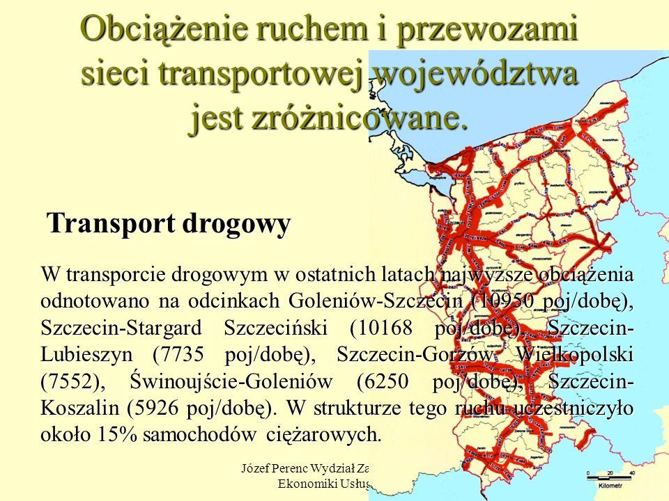 Józef Perenc Wydział Zarządzania i Ekonomiki Usług US 9 Obciążenie ruchem i przewozami sieci transportowej województwa jest zróżnicowane. W transporci