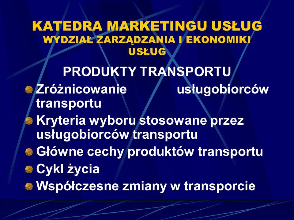 KATEDRA MARKETINGU USŁUG WYDZIAŁ ZARZĄDZANIA I EKONOMIKI USŁUG PRODUKTY TRANSPORTU Zróżnicowanie usługobiorców transportu Kryteria wyboru stosowane przez usługobiorców transportu Główne cechy produktów transportu Cykl życia Współczesne zmiany w transporcie