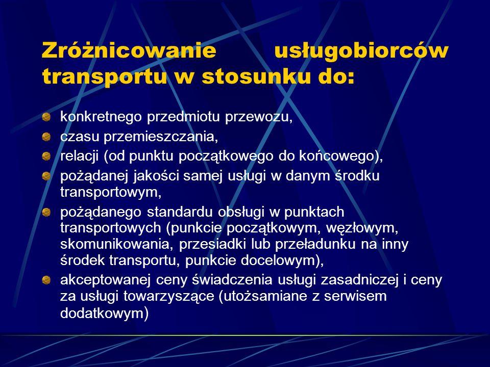 Zróżnicowanie usługobiorców transportu w stosunku do: konkretnego przedmiotu przewozu, czasu przemieszczania, relacji (od punktu początkowego do końcowego), pożądanej jakości samej usługi w danym środku transportowym, pożądanego standardu obsługi w punktach transportowych (punkcie początkowym, węzłowym, skomunikowania, przesiadki lub przeładunku na inny środek transportu, punkcie docelowym), akceptowanej ceny świadczenia usługi zasadniczej i ceny za usługi towarzyszące (utożsamiane z serwisem dodatkowym )