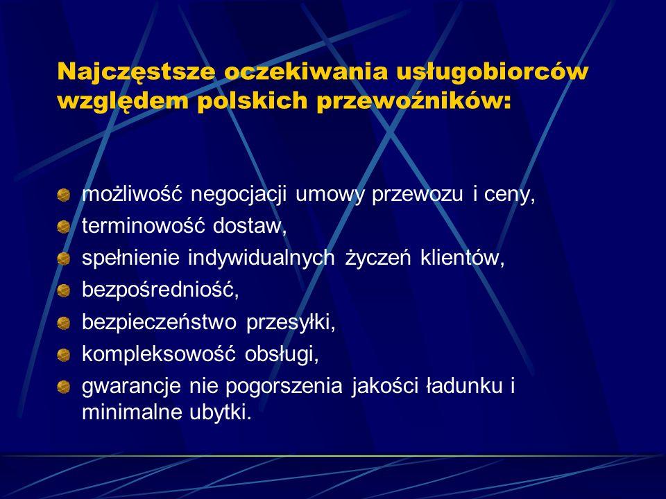 Najczęstsze oczekiwania usługobiorców względem polskich przewoźników: możliwość negocjacji umowy przewozu i ceny, terminowość dostaw, spełnienie indywidualnych życzeń klientów, bezpośredniość, bezpieczeństwo przesyłki, kompleksowość obsługi, gwarancje nie pogorszenia jakości ładunku i minimalne ubytki.