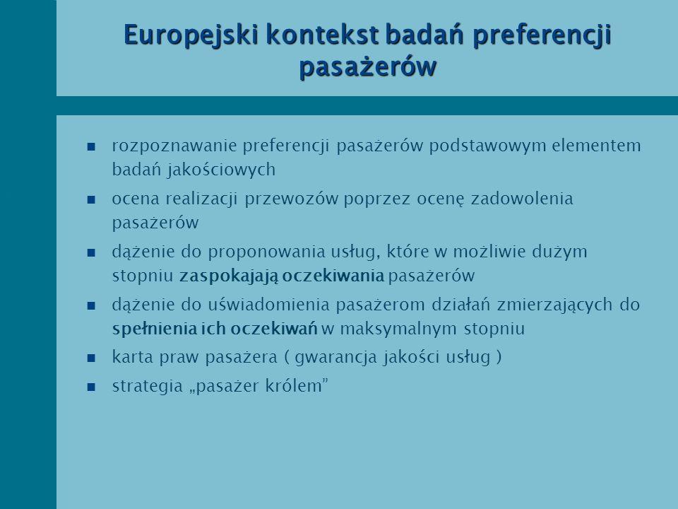 Europejski kontekst badań preferencji pasażerów n rozpoznawanie preferencji pasażerów podstawowym elementem badań jakościowych n ocena realizacji prze