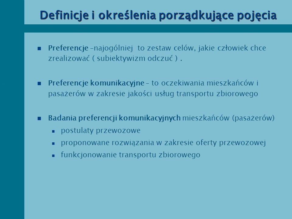 Preferencje pasażerów w badaniach jakościowych – pętla jakości Przez jakość przewozów w transporcie zbiorowym rozumie się stopień zaspokojenia stwierdzonych potrzeb przewozowych mieszkańców miasta mierzony zespołem postulatów przewozowych (cech) zgłaszanych przez pasażerów.