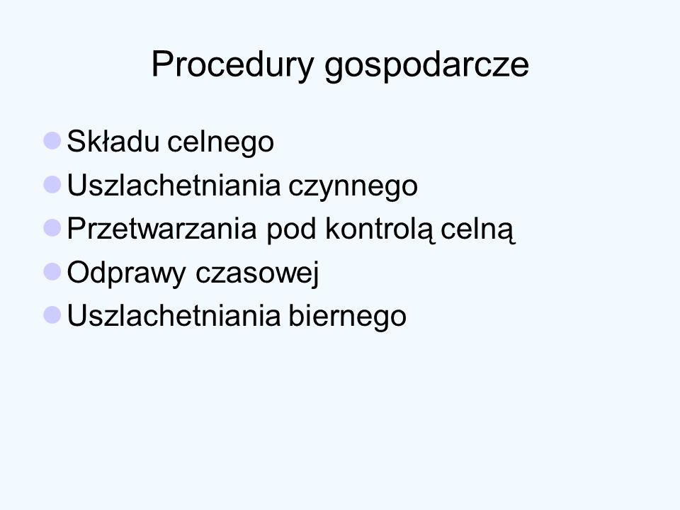 Procedury gospodarcze Składu celnego Uszlachetniania czynnego Przetwarzania pod kontrolą celną Odprawy czasowej Uszlachetniania biernego