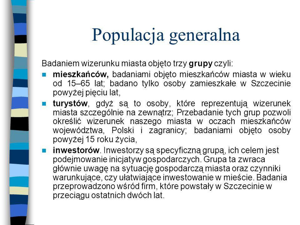 Populacja generalna Badaniem wizerunku miasta objęto trzy grupy czyli: mieszkańców, badaniami objęto mieszkańców miasta w wieku od 15–65 lat; badano t