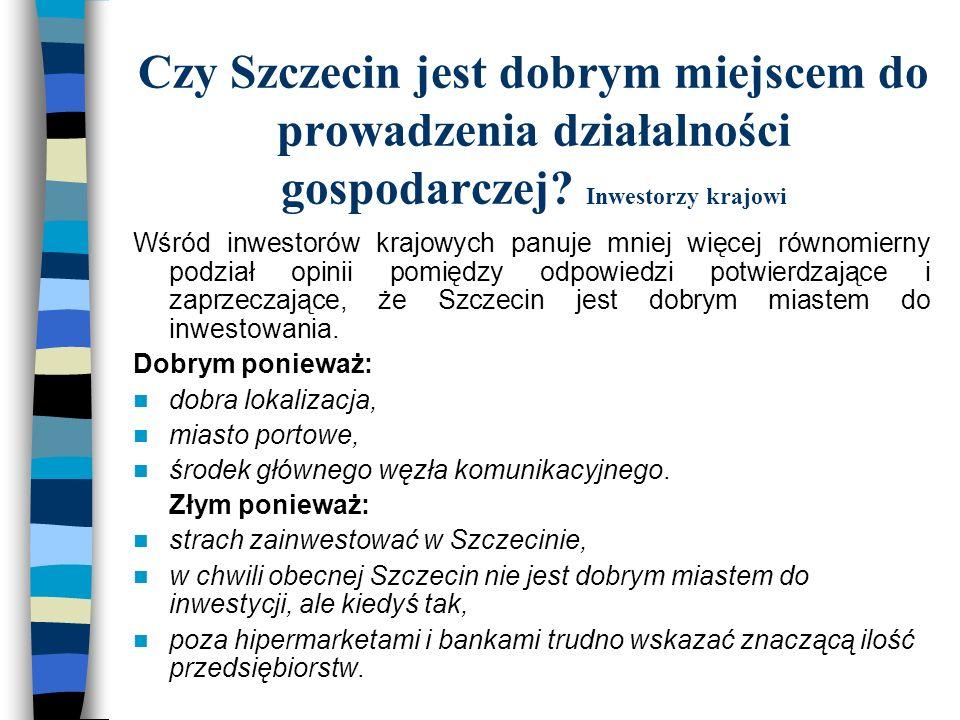Czy Szczecin jest dobrym miejscem do prowadzenia działalności gospodarczej? Inwestorzy krajowi Wśród inwestorów krajowych panuje mniej więcej równomie