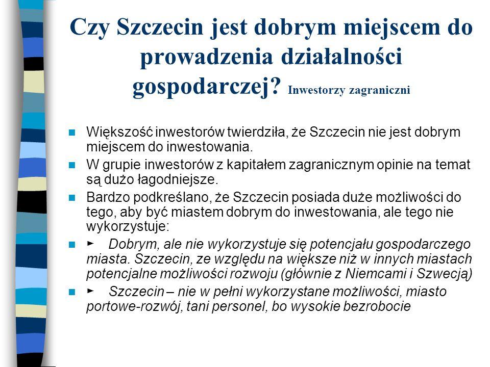 Większość inwestorów twierdziła, że Szczecin nie jest dobrym miejscem do inwestowania. W grupie inwestorów z kapitałem zagranicznym opinie na temat są