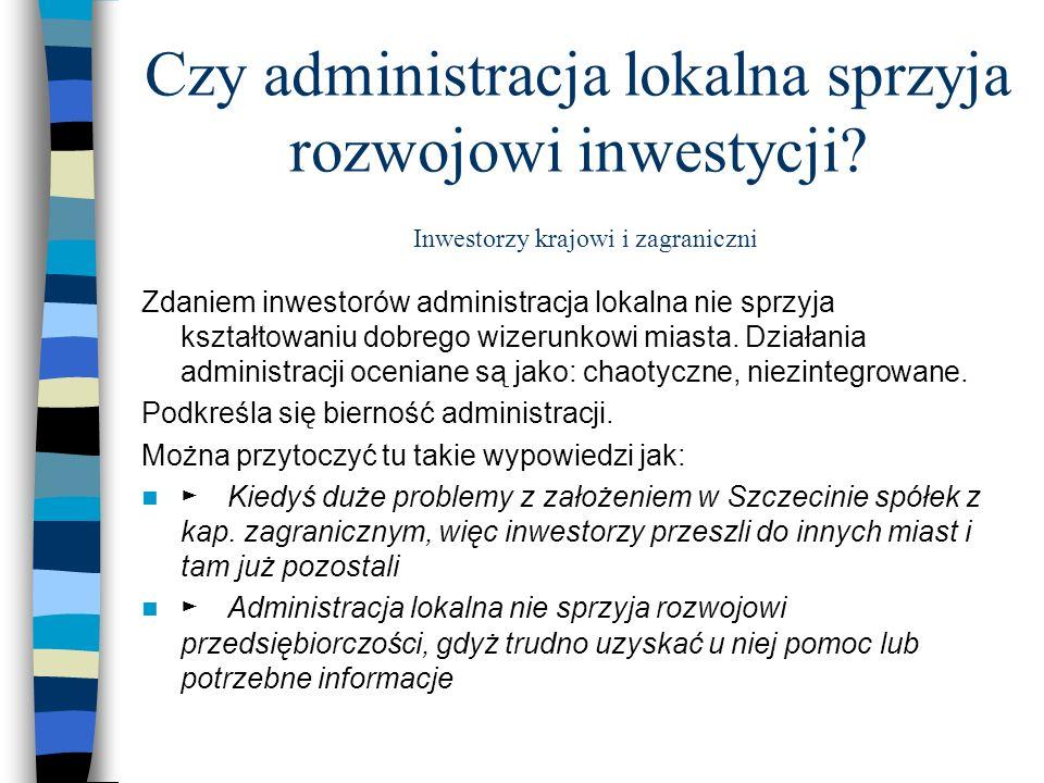 Czy administracja lokalna sprzyja rozwojowi inwestycji? Inwestorzy krajowi i zagraniczni Zdaniem inwestorów administracja lokalna nie sprzyja kształto