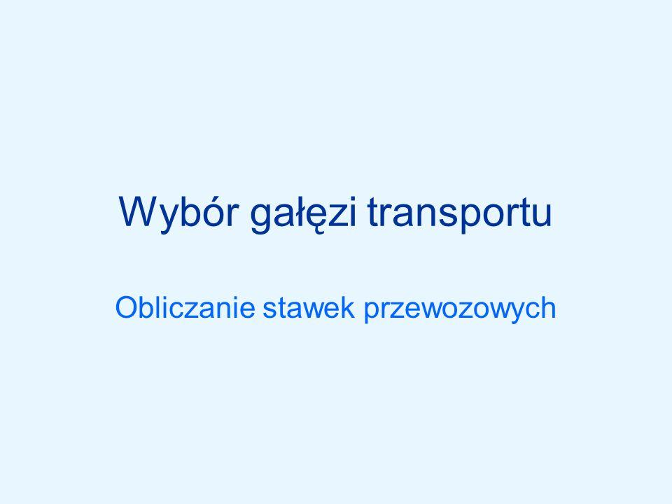 Obliczanie przewoźnego w transporcie kolejowym Taryfa towarową PKP Cargo S.A.