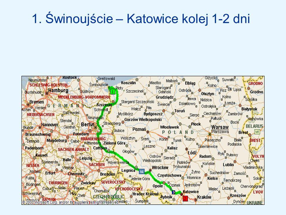 2.Świnoujście – Katowice samochód 1-2 dni 3.