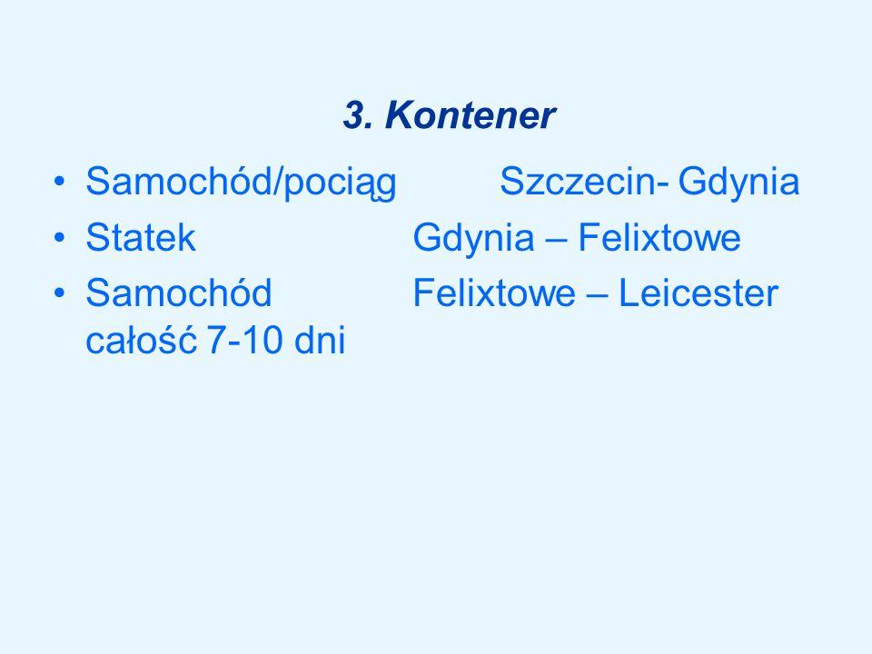 3. Kontener Samochód/pociąg Szczecin- Gdynia Statek Gdynia – Felixtowe Samochód Felixtowe – Leicester całość 7-10 dni