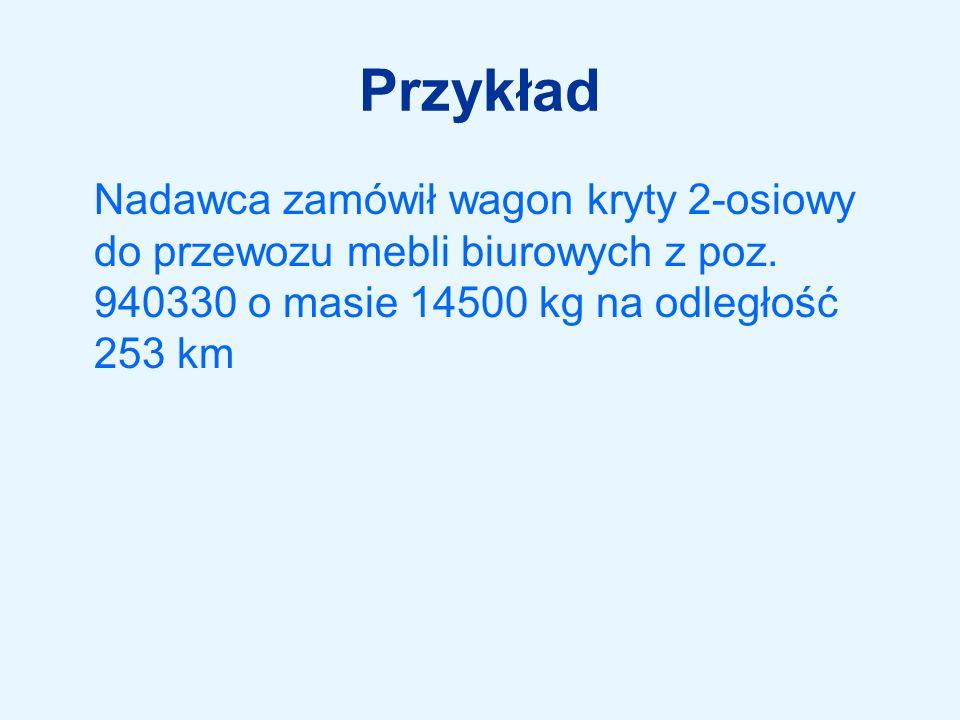 Opłata podstawowa (z tab.A1)1325 zł Waga obliczeniowa (zaokr.14500kg)15 ton Odległość obliczeniowa (zaokr.