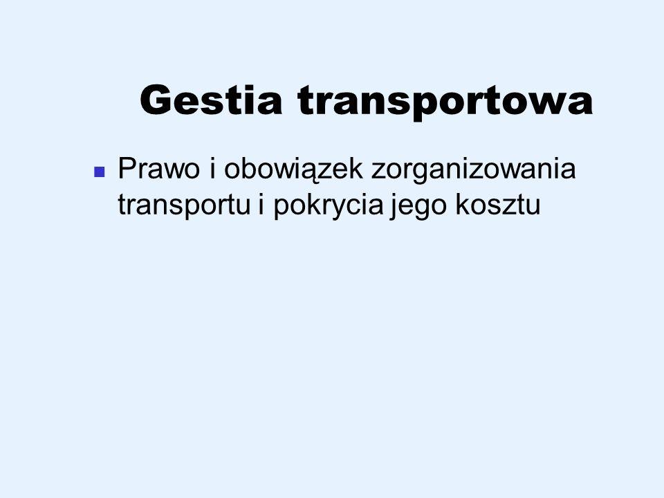 Gestia transportowa Prawo i obowiązek zorganizowania transportu i pokrycia jego kosztu