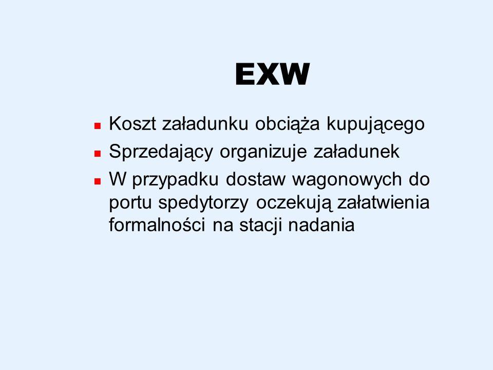 EXW Koszt załadunku obciąża kupującego Sprzedający organizuje załadunek W przypadku dostaw wagonowych do portu spedytorzy oczekują załatwienia formaln