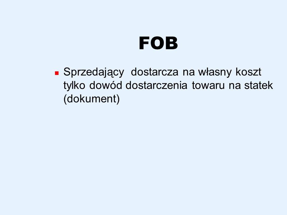 FAS Sprzedający ma obowiązek załadowania lub przekazania towaru w pieczę przewoźnika na stacji nadania lub w terminalu Nie koresponduje z polskimi taryfami portowymi, dzielącymi koszty portowe na przeładunek i za ładunek na linii nadburcia statku zgodnie z wymogami formuły FOB W praktyce stawka za załadunek pośredni jest dzielona między spedytorów importera i eksportera