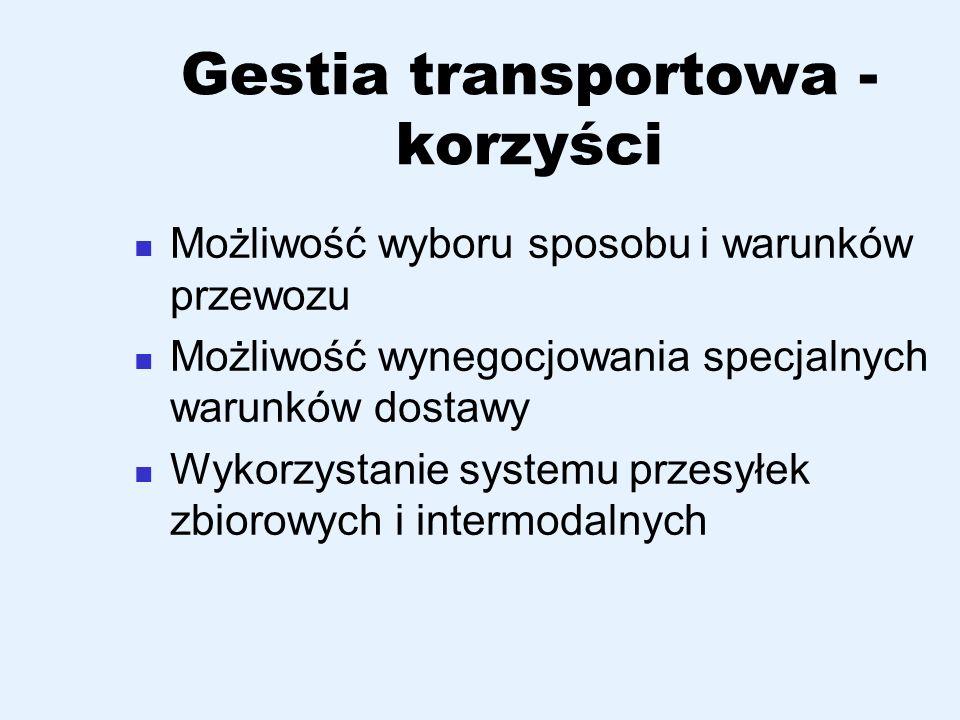 Gestia transportowa - korzyści Możliwość wyboru sposobu i warunków przewozu Możliwość wynegocjowania specjalnych warunków dostawy Wykorzystanie system