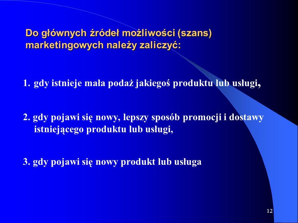 12 Do głównych źródeł możliwości (szans) marketingowych należy zaliczyć: 1. gdy istnieje mała podaż jakiegoś produktu lub usługi, 2. gdy pojawi się no