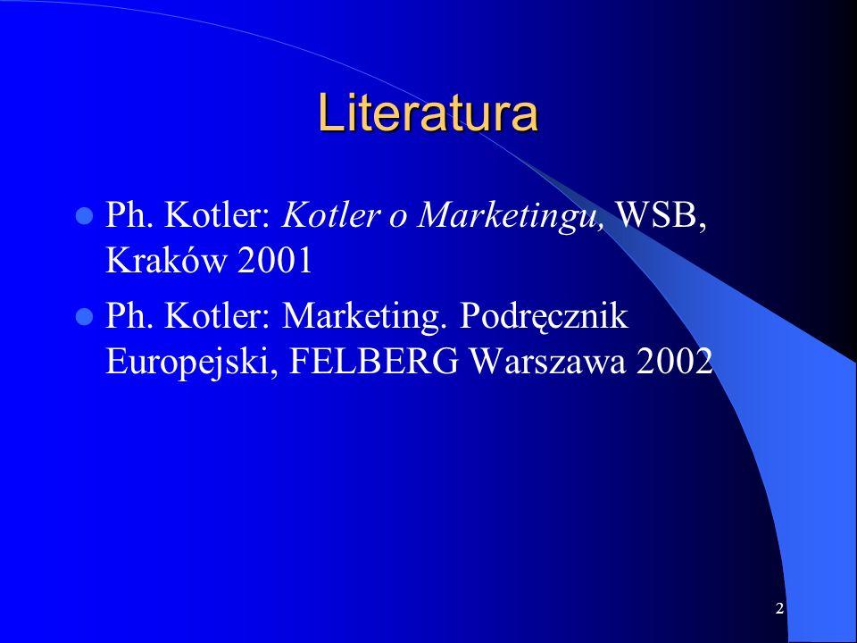 2 Literatura Ph. Kotler: Kotler o Marketingu, WSB, Kraków 2001 Ph. Kotler: Marketing. Podręcznik Europejski, FELBERG Warszawa 2002