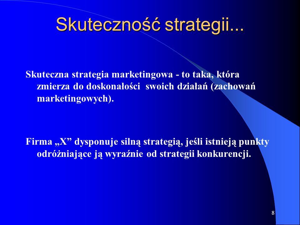 8 Skuteczność strategii... Skuteczna strategia marketingowa - to taka, która zmierza do doskonałości swoich działań (zachowań marketingowych). Firma X