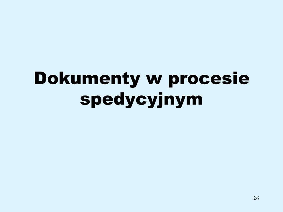 26 Dokumenty w procesie spedycyjnym