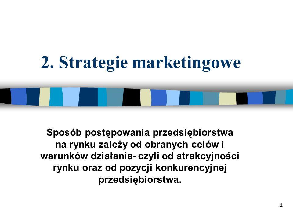 4 2. Strategie marketingowe Sposób postępowania przedsiębiorstwa na rynku zależy od obranych celów i warunków działania- czyli od atrakcyjności rynku
