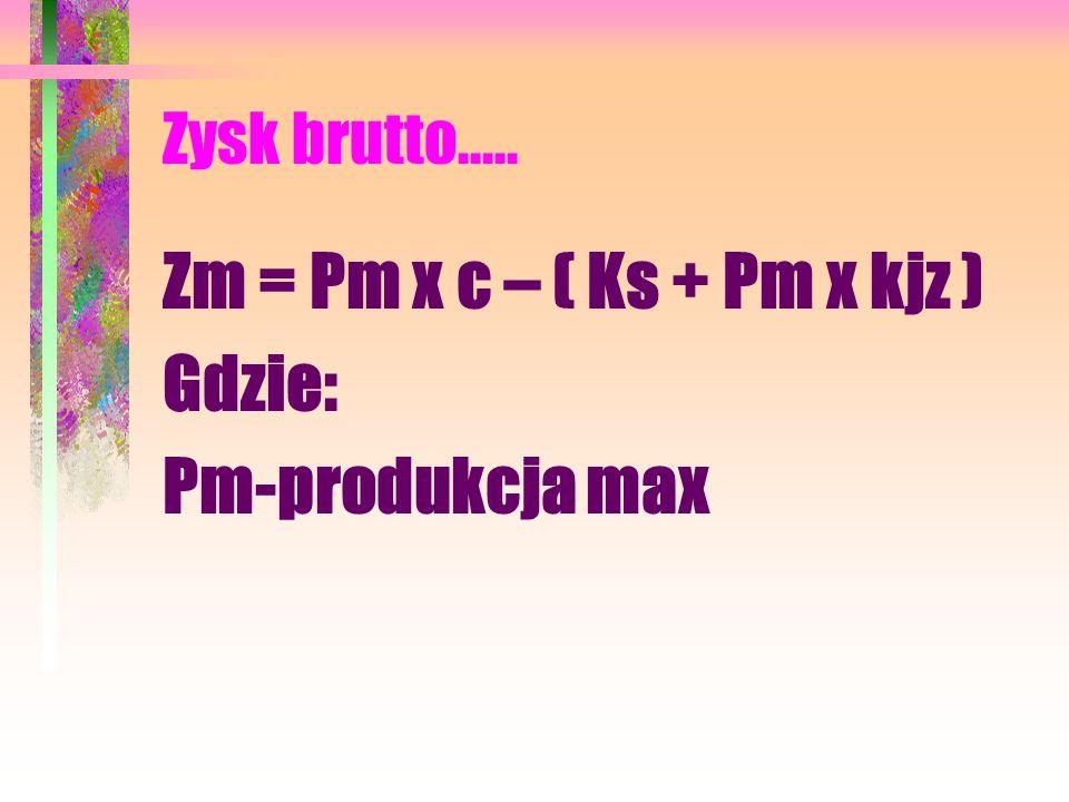Zysk brutto..... Zm = Pm x c – ( Ks + Pm x kjz ) Gdzie: Pm-produkcja max